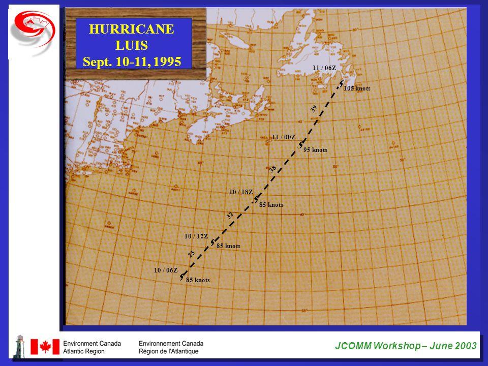 JCOMM Workshop – June 2003 HURRICANE LUIS Sept. 10-11, 1995 85 knots 10 / 06Z 25 85 knots 10 / 12Z 10 / 18Z 85 knots 95 knots 11 / 00Z 11 / 06Z 105 kn