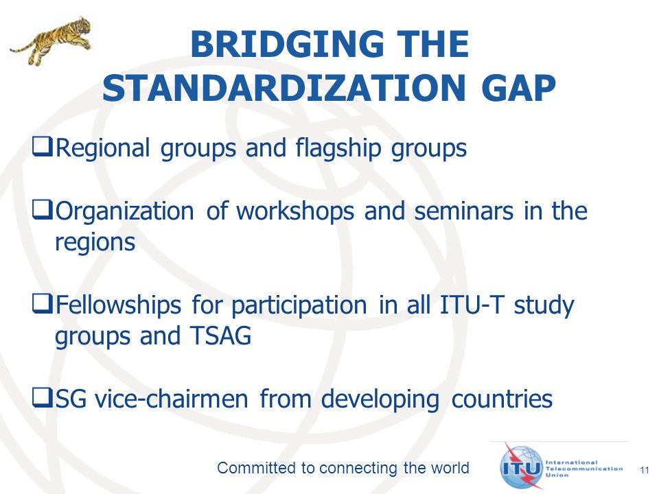 Committed to connecting the world BRIDGING THE STANDARDIZATION GAP Regional groups and flagship groups Organization of workshops and seminars in the regions Fellowships for participation in all ITU-T study groups and TSAG SG vice-chairmen from developing countries 11