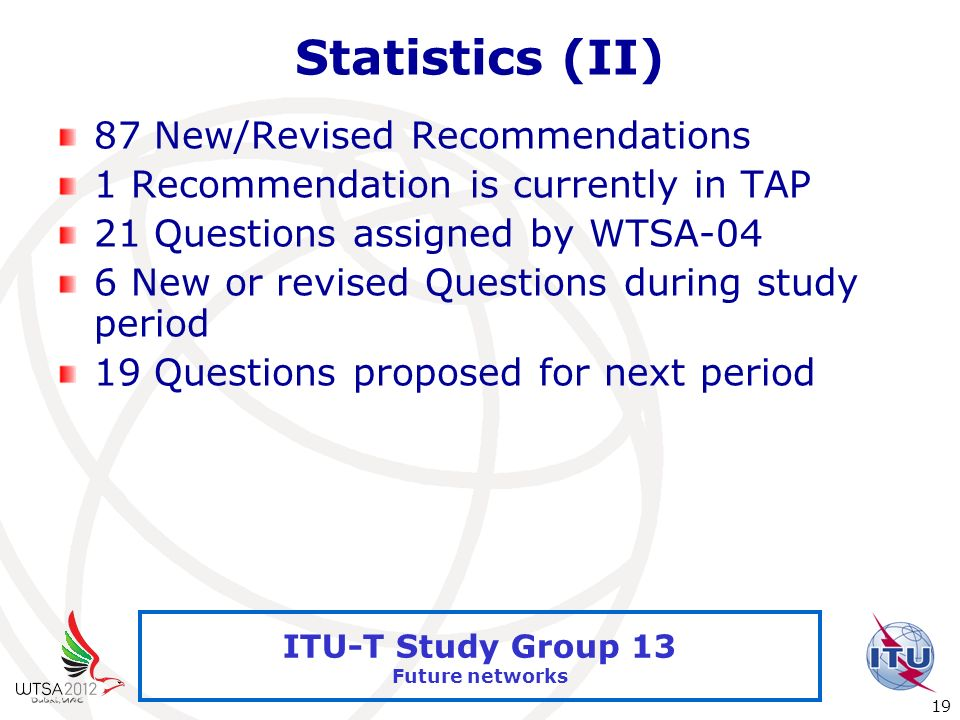 International Telecommunication Union 19 ITU-T Study Group 13 Future networks Statistics (II) 87 New/Revised Recommendations 1 Recommendation is curre