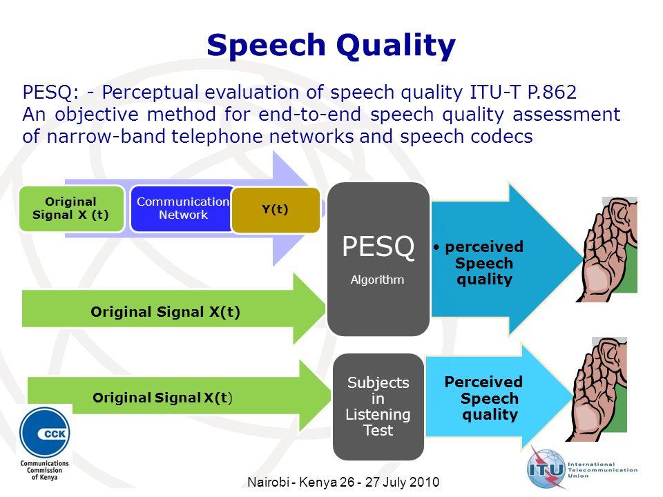 Speech Quality Original Signal X (t) Communication Network Y(t) Original Signal X(t) perceived Speech quality PESQ Algorithm Subjects in Listening Tes