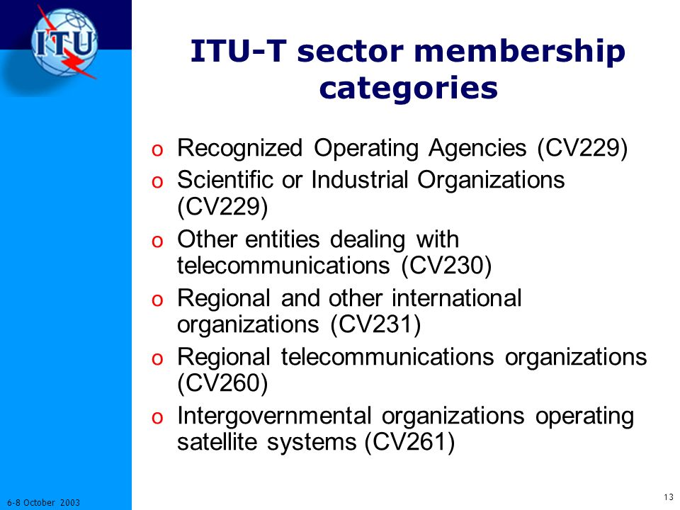 October 2003 ITU-T sector membership categories o Recognized Operating Agencies (CV229) o Scientific or Industrial Organizations (CV229) o Other entities dealing with telecommunications (CV230) o Regional and other international organizations (CV231) o Regional telecommunications organizations (CV260) o Intergovernmental organizations operating satellite systems (CV261)