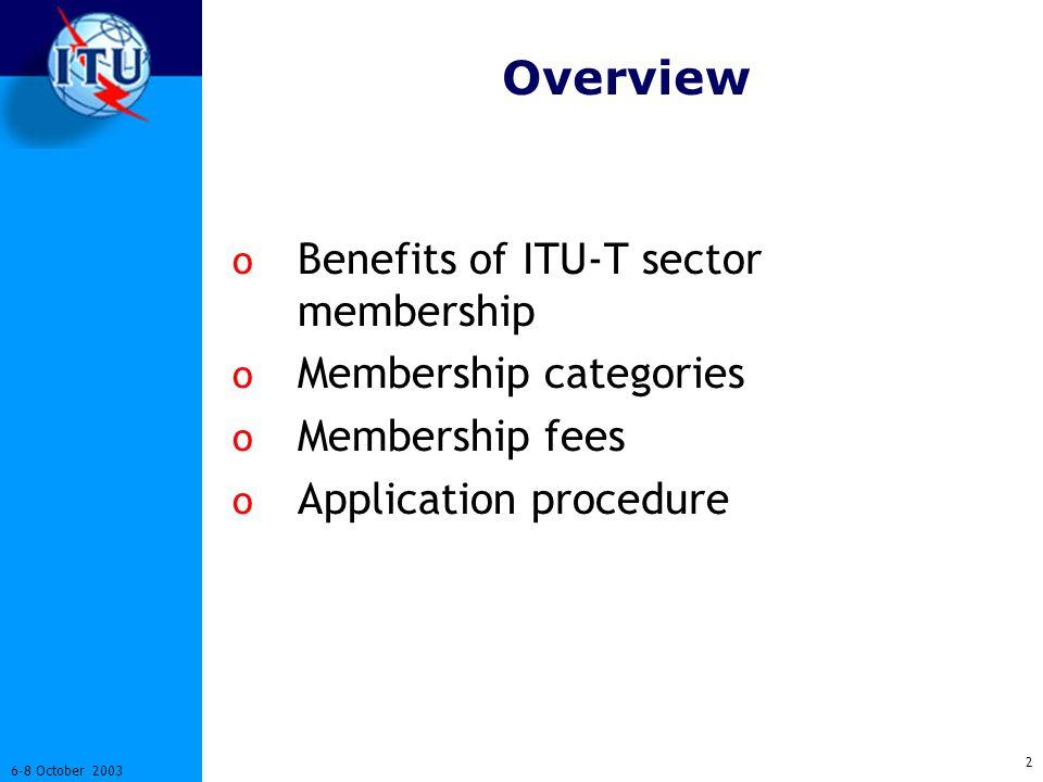 2 6-8 October 2003 Overview o Benefits of ITU-T sector membership o Membership categories o Membership fees o Application procedure