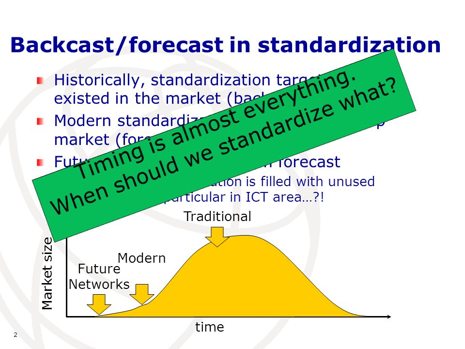 2 Backcast/forecast in standardization Historically, standardization target already existed in the market (backcast) Modern standardization is done to develop market (forecast) Future Networks: long-term forecast History of standardization is filled with unused standards, in particular in ICT area… .
