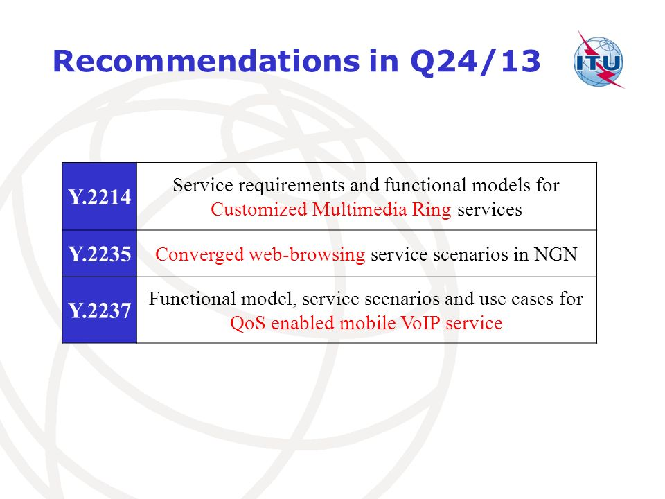 Recommendations in Q24/13 Y.2214 Service requirements and functional models for Customized Multimedia Ring services Y.2235 Converged web-browsing service scenarios in NGN Y.2237 Functional model, service scenarios and use cases for QoS enabled mobile VoIP service