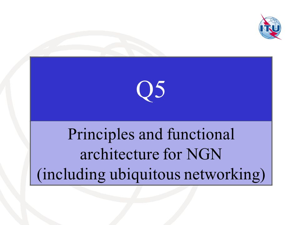 Q5 Principles and functional architecture for NGN (including ubiquitous networking)