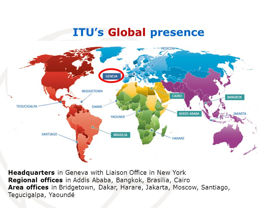 ITUs Global presence Headquarters in Geneva with Liaison Office in New York Regional offices in Addis Ababa, Bangkok, Brasilia, Cairo Area offices in Bridgetown, Dakar, Harare, Jakarta, Moscow, Santiago, Tegucigalpa, Yaoundé