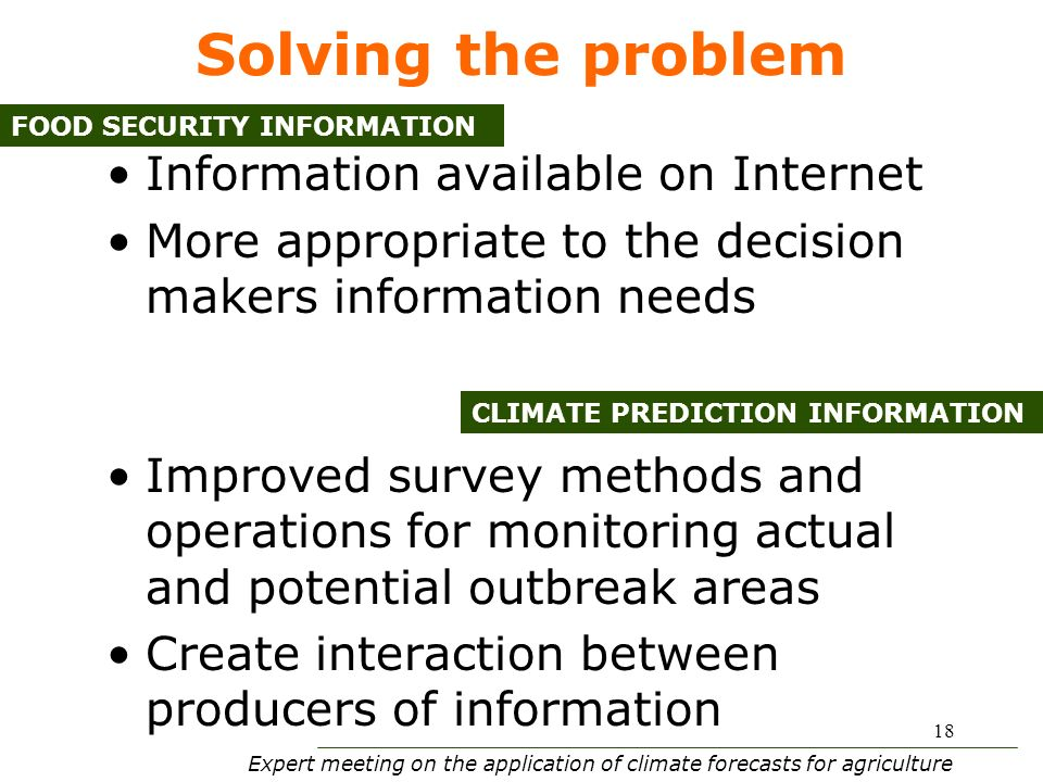 Expert meeting on the application of climate forecasts for agriculture 18 Solving the problem Information available on Internet More appropriate to the decision makers information needs Improved survey methods and operations for monitoring actual and potential outbreak areas Create interaction between producers of information FOOD SECURITY INFORMATION CLIMATE PREDICTION INFORMATION