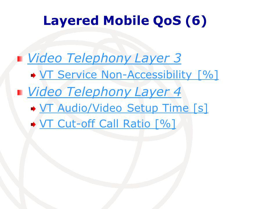Layered Mobile QoS (7) Streaming Video Layer 3 Streaming Service Non Accessibility [%] Layer 4: Streaming Service Access Time [s] Streaming Reproduction Cut-off Ratio [%]