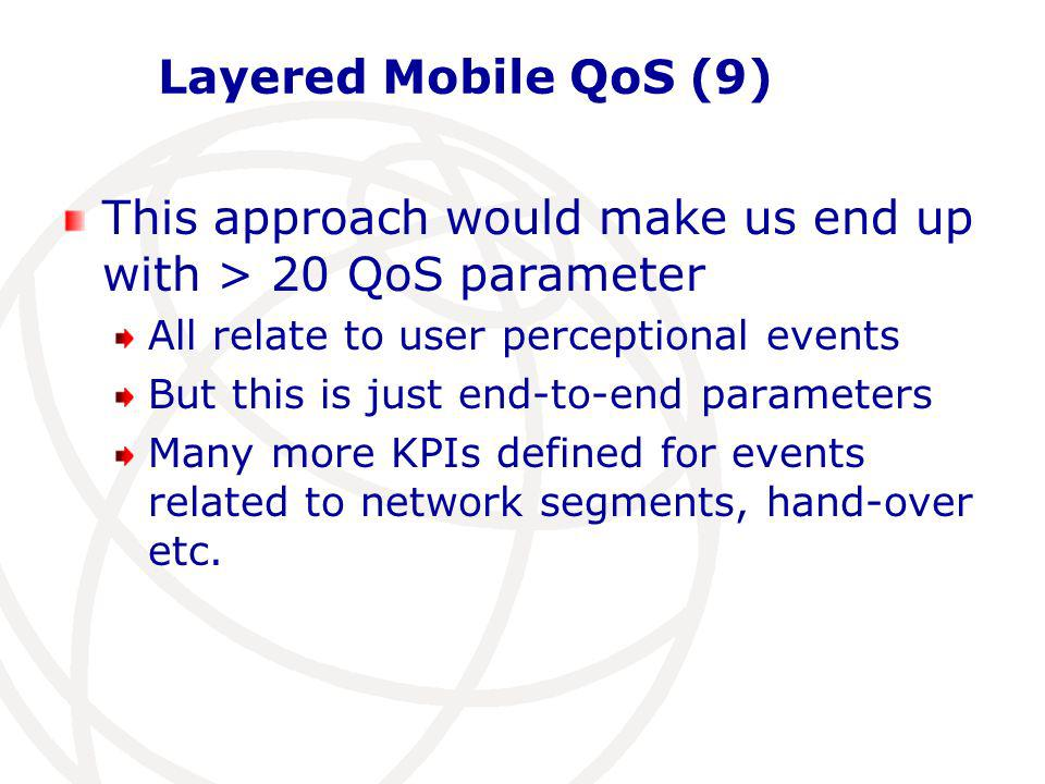 Layered Mobile QoS (9) This approach would make us end up with > 20 QoS parameter All relate to user perceptional events But this is just end-to-end parameters Many more KPIs defined for events related to network segments, hand-over etc.