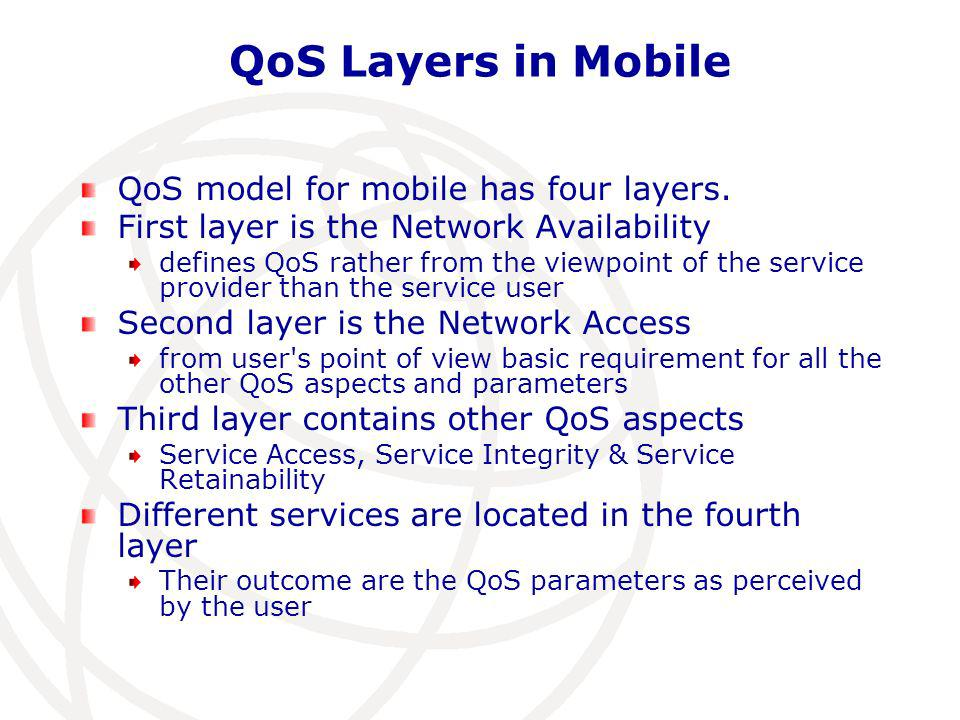 QoS Layers in Mobile QoS model for mobile has four layers.