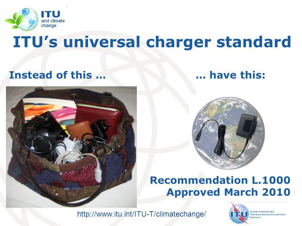 http://www.itu.int/ITU-T/climatechange/ ITUs universal charger standard … have this:Instead of this … Recommendation L.1000 Approved March 2010