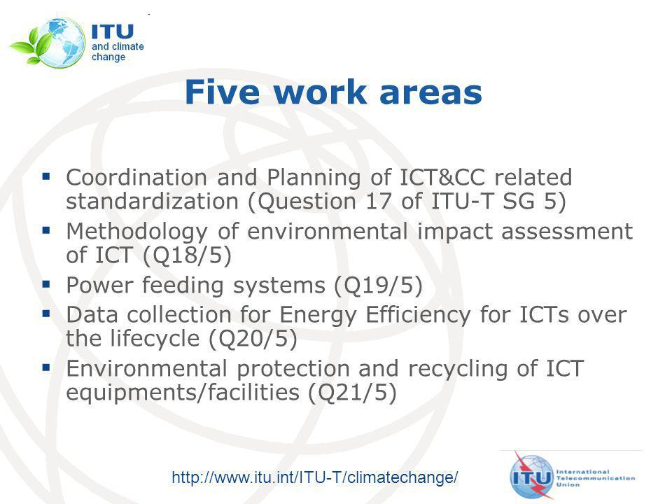 http://www.itu.int/ITU-T/climatechange/ Five work areas Coordination and Planning of ICT&CC related standardization (Question 17 of ITU-T SG 5) Methodology of environmental impact assessment of ICT (Q18/5) Power feeding systems (Q19/5) Data collection for Energy Efficiency for ICTs over the lifecycle (Q20/5) Environmental protection and recycling of ICT equipments/facilities (Q21/5)