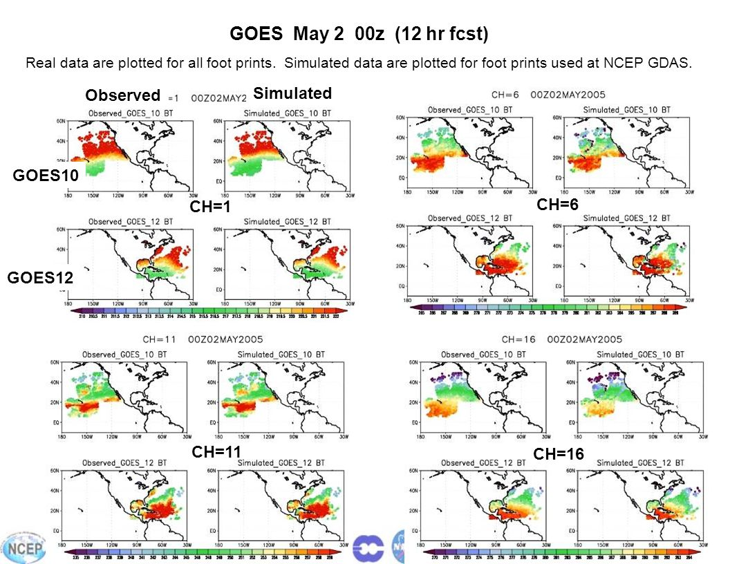 24 GOES May 2 00z (12 hr fcst) Real data are plotted for all foot prints. Simulated data are plotted for foot prints used at NCEP GDAS. Observed Simul