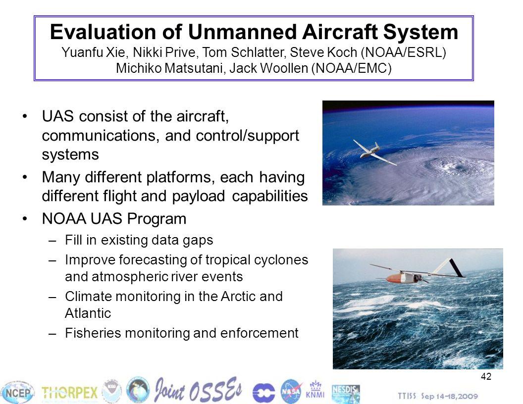 42 Evaluation of Unmanned Aircraft System Yuanfu Xie, Nikki Prive, Tom Schlatter, Steve Koch (NOAA/ESRL) Michiko Matsutani, Jack Woollen (NOAA/EMC) UA