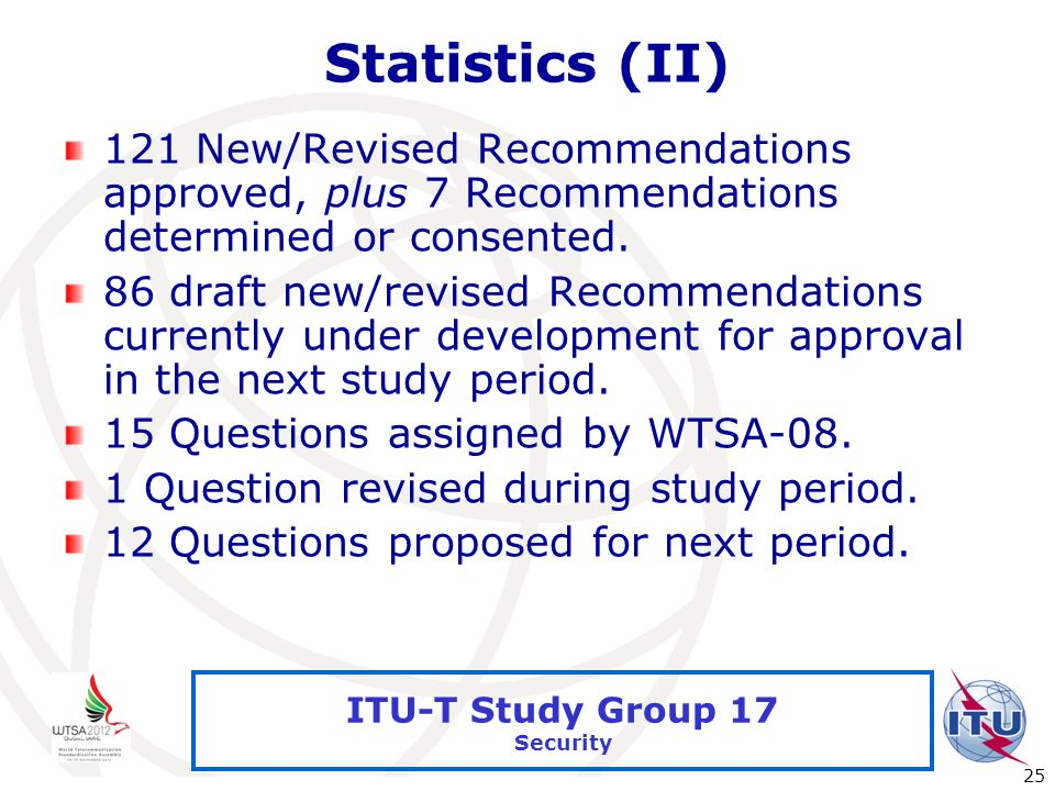 International Telecommunication Union 25 ITU-T Study Group 17 Security Statistics (II) 121 New/Revised Recommendations approved, plus 7 Recommendation