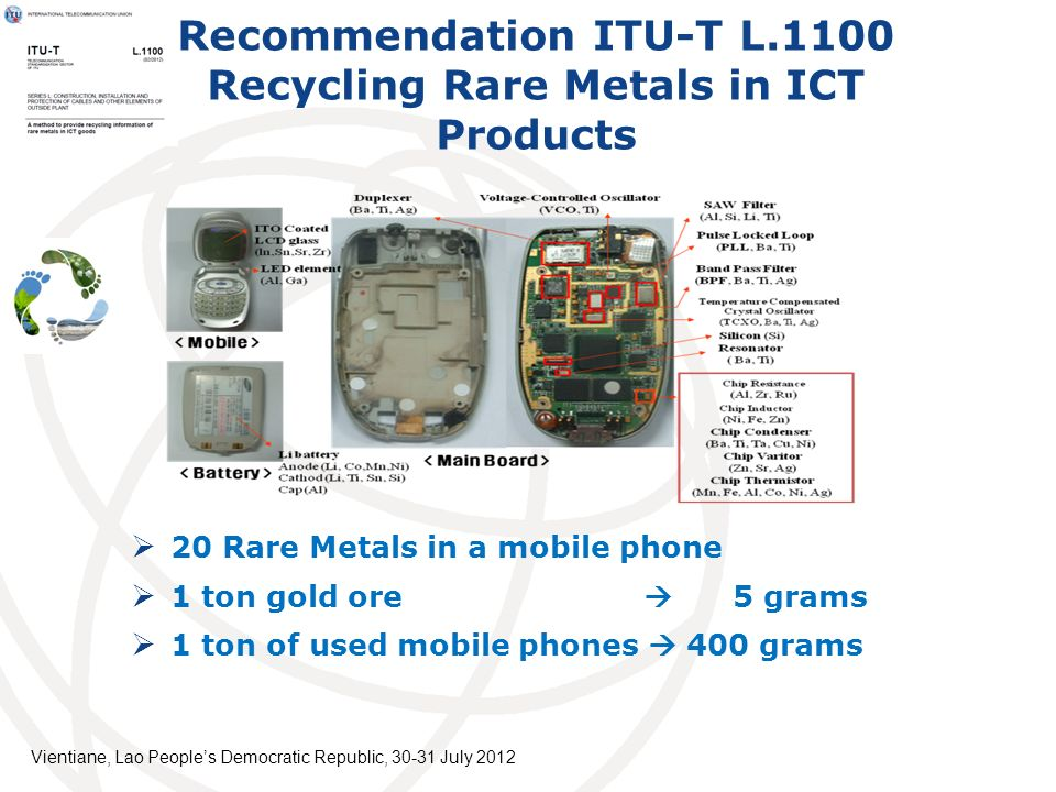Recommendation ITU-T L.1100 Recycling Rare Metals in ICT Products 20 Rare Metals in a mobile phone 1 ton gold ore 5 grams 1 ton of used mobile phones 400 grams Vientiane, Lao Peoples Democratic Republic, July 2012