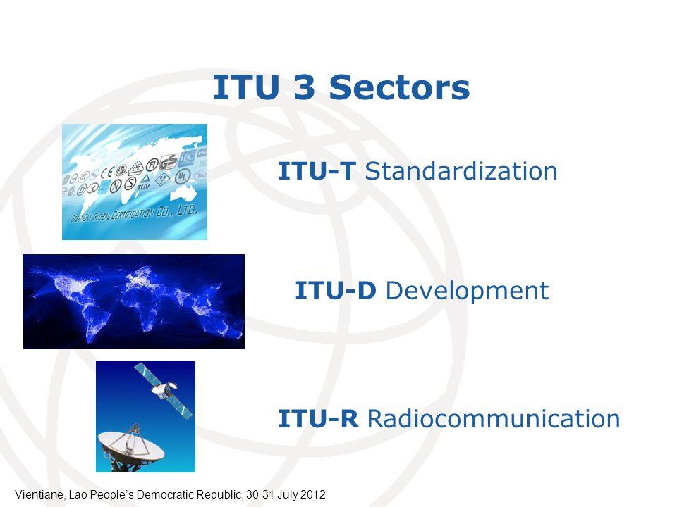 International Telecommunication Union ITU 3 Sectors ITU-T Standardization ITU-D Development ITU-R Radiocommunication Vientiane, Lao Peoples Democratic