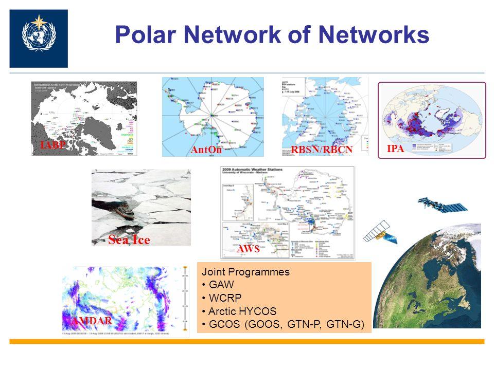Polar Network of Networks IABP RBSN/RBCN AMDAR AWS AntOn Joint Programmes GAW WCRP Arctic HYCOS GCOS (GOOS, GTN-P, GTN-G) IPA Sea Ice