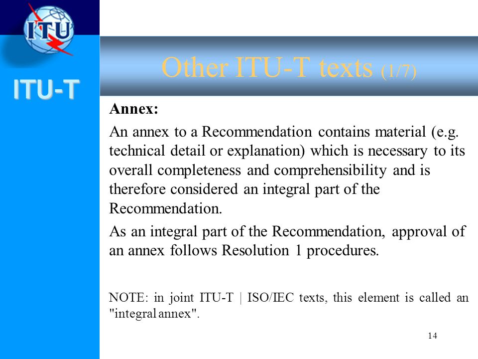 ITU-T 14 Annex: An annex to a Recommendation contains material (e.g.