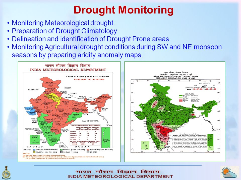 Monitoring Meteorological drought. Preparation of Drought Climatology Delineation and identification of Drought Prone areas Monitoring Agricultural dr
