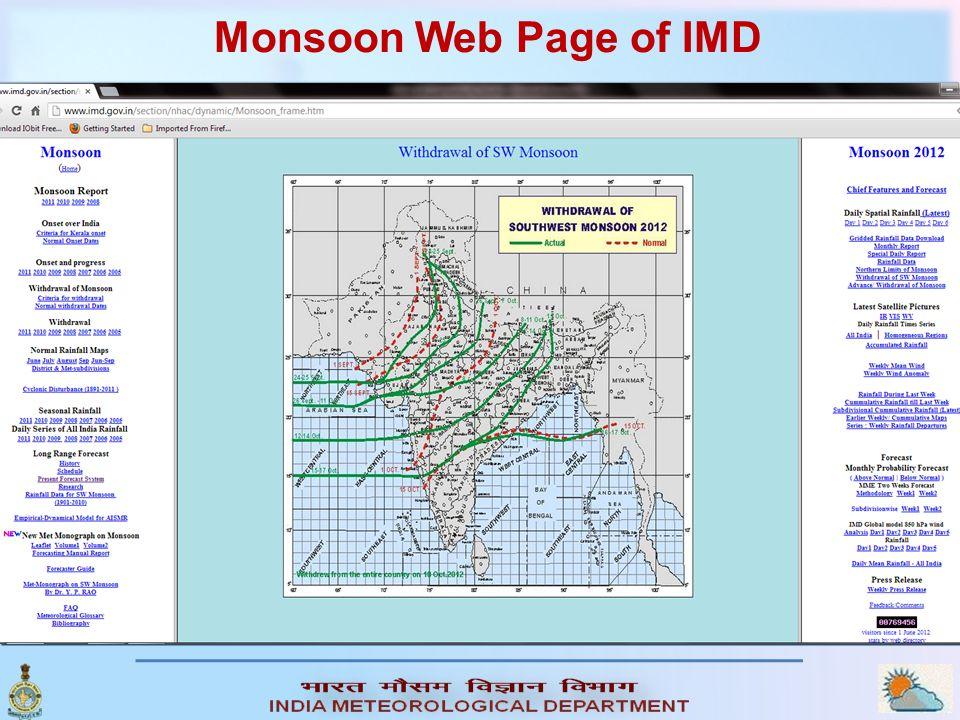 Monsoon Web Page of IMD