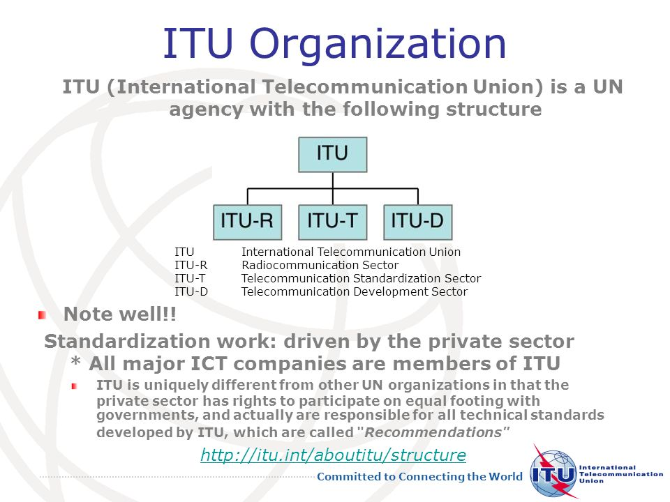Committed to Connecting the World ITU Organization 27 ITUInternational Telecommunication Union ITU-RRadiocommunication Sector ITU-TTelecommunication Standardization Sector ITU-DTelecommunication Development Sector http://itu.int/aboutitu/structure Note well!.