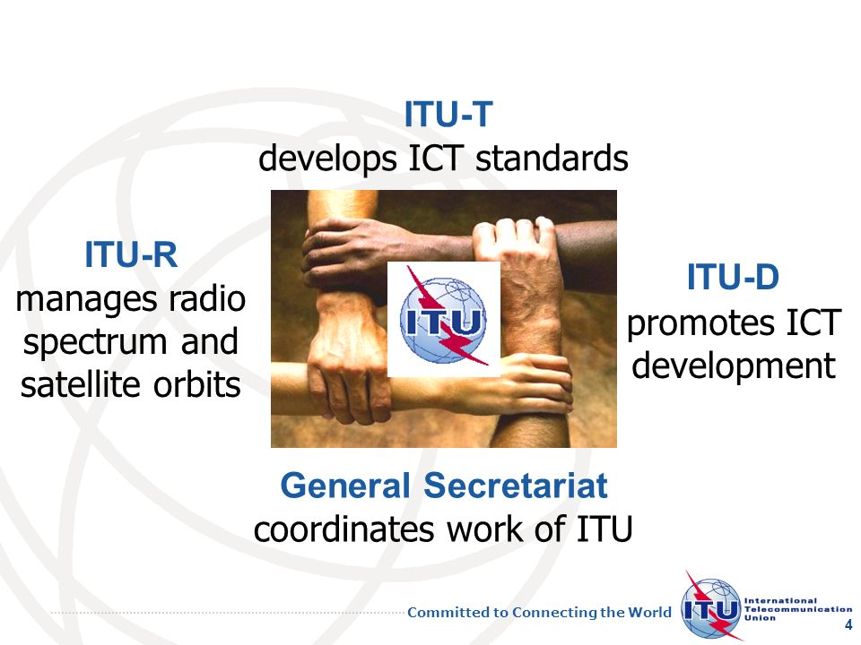 Committed to Connecting the World 4 ITU-T develops ICT standards ITU-R manages radio spectrum and satellite orbits ITU-D promotes ICT development General Secretariat coordinates work of ITU