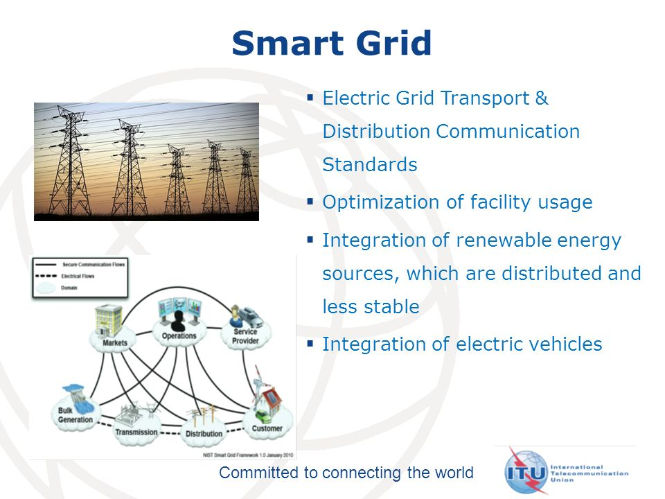 Committed to connecting the world Smart Grid Electric Grid Transport & Distribution Communication Standards Optimization of facility usage Integration of renewable energy sources, which are distributed and less stable Integration of electric vehicles