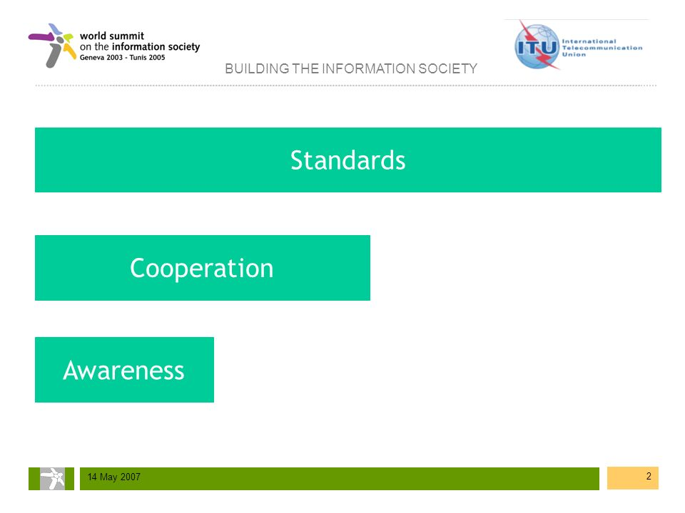 BUILDING THE INFORMATION SOCIETY 14 May 2007 2 Cooperation Awareness Standards