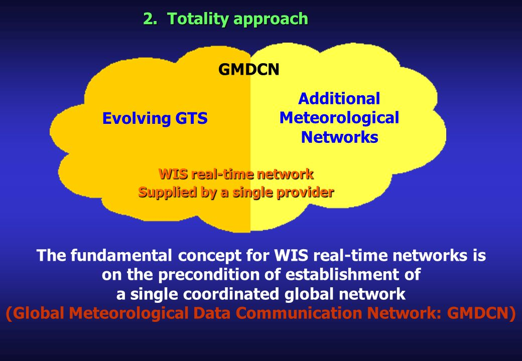 2. Totality approach Evolving GTS Additional Meteorological Networks GMDCN WIS real-time network Supplied by a single provider The fundamental concept