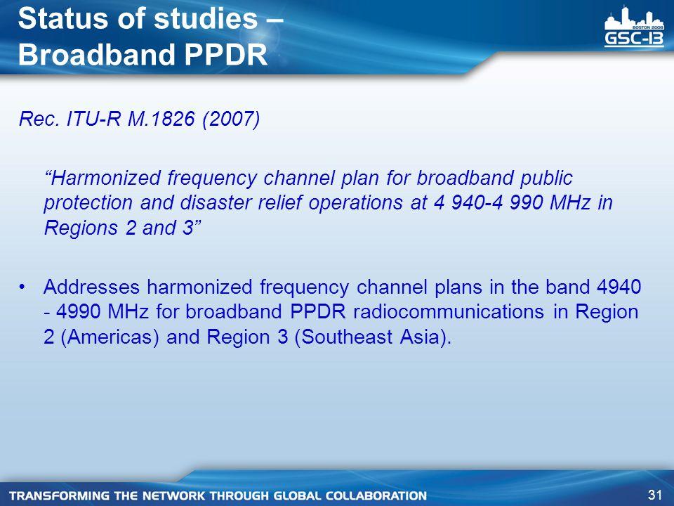 31 Status of studies – Broadband PPDR Rec.