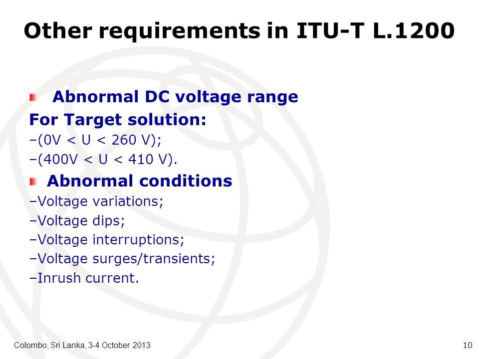 Other requirements in ITU-T L.1200 Abnormal DC voltage range For Target solution: –(0V < U < 260 V); –(400V < U < 410 V).