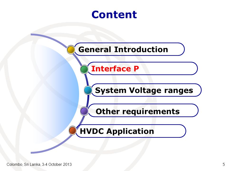 Content Colombo, Sri Lanka, 3-4 October 2013 5 HVDC Application Other requirements System Voltage ranges Interface P General Introduction