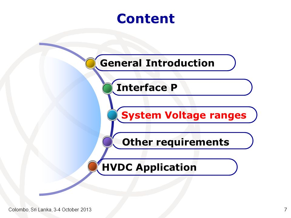 Content Colombo, Sri Lanka, 3-4 October 2013 7 HVDC Application Other requirements System Voltage ranges Interface P General Introduction
