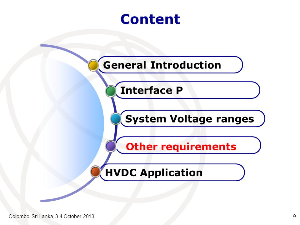 Content Colombo, Sri Lanka, 3-4 October 2013 9 HVDC Application Other requirements System Voltage ranges Interface P General Introduction