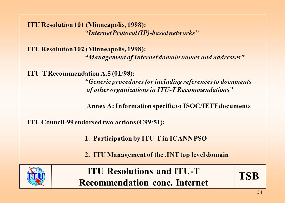 TSB 34 ITU Resolutions and ITU-T Recommendation conc.