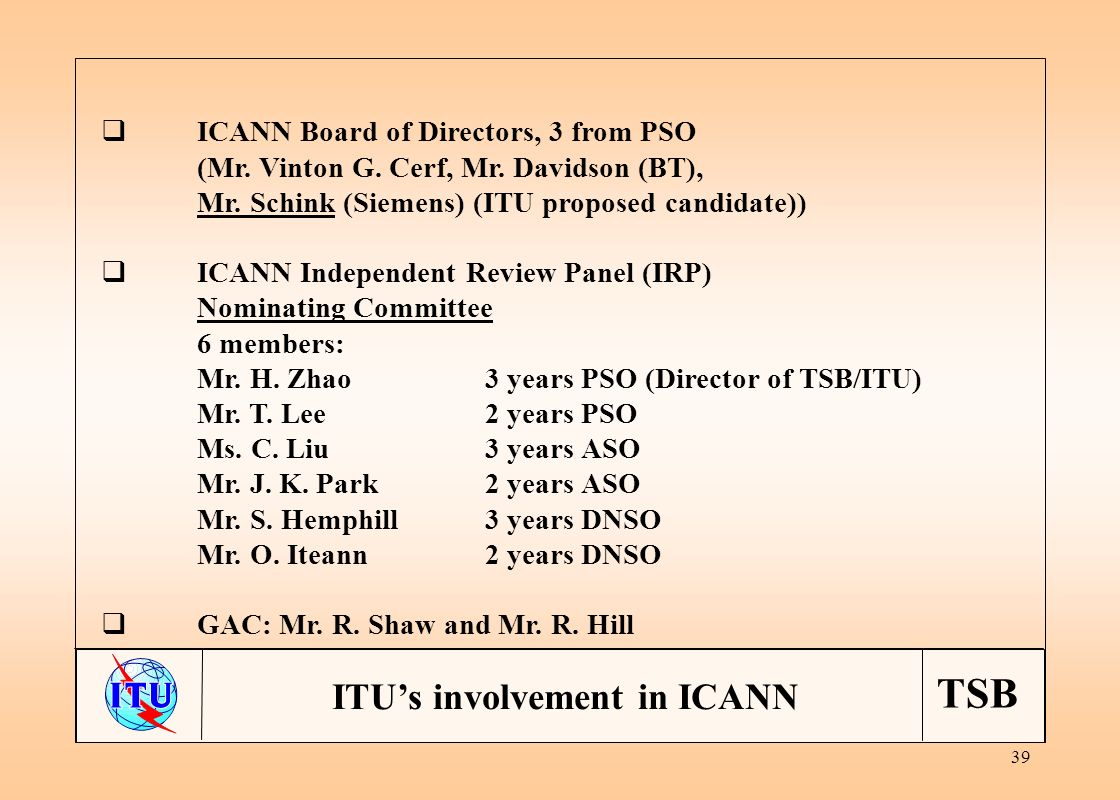 TSB 39 ICANN Board of Directors, 3 from PSO (Mr. Vinton G.