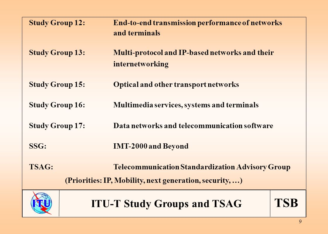 TSB 9 ITU-T Study Groups and TSAG Study Group 12:End-to-end transmission performance of networks and terminals Study Group 13:Multi-protocol and IP-based networks and their internetworking Study Group 15:Optical and other transport networks Study Group 16:Multimedia services, systems and terminals Study Group 17:Data networks and telecommunication software SSG:IMT-2000 and Beyond TSAG:Telecommunication Standardization Advisory Group (Priorities: IP, Mobility, next generation, security, …)