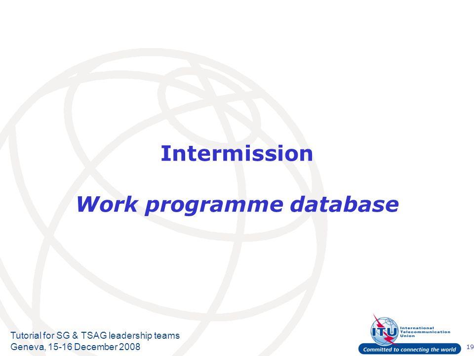 19 Tutorial for SG & TSAG leadership teams Geneva, 15-16 December 2008 Intermission Work programme database