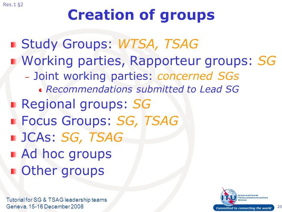 20 Tutorial for SG & TSAG leadership teams Geneva, 15-16 December 2008 Creation of groups Study Groups: WTSA, TSAG Working parties, Rapporteur groups: