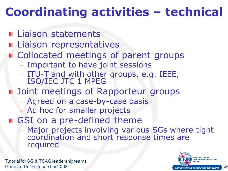 29 Tutorial for SG & TSAG leadership teams Geneva, 15-16 December 2008 Coordinating activities – technical Liaison statements Liaison representatives