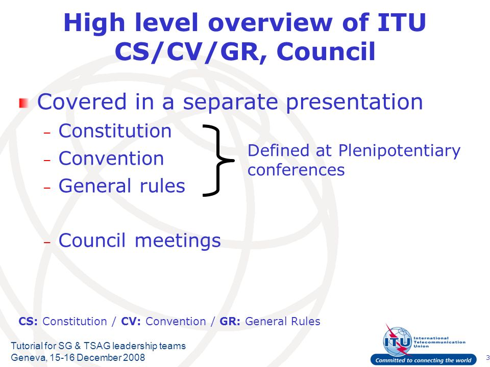 3 Tutorial for SG & TSAG leadership teams Geneva, 15-16 December 2008 High level overview of ITU CS/CV/GR, Council Covered in a separate presentation – Constitution – Convention – General rules – Council meetings Defined at Plenipotentiary conferences CS: Constitution / CV: Convention / GR: General Rules