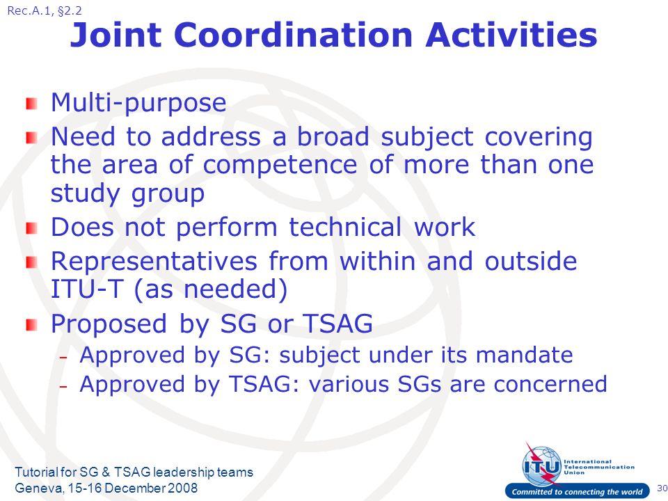 30 Tutorial for SG & TSAG leadership teams Geneva, 15-16 December 2008 Joint Coordination Activities Multi-purpose Need to address a broad subject cov