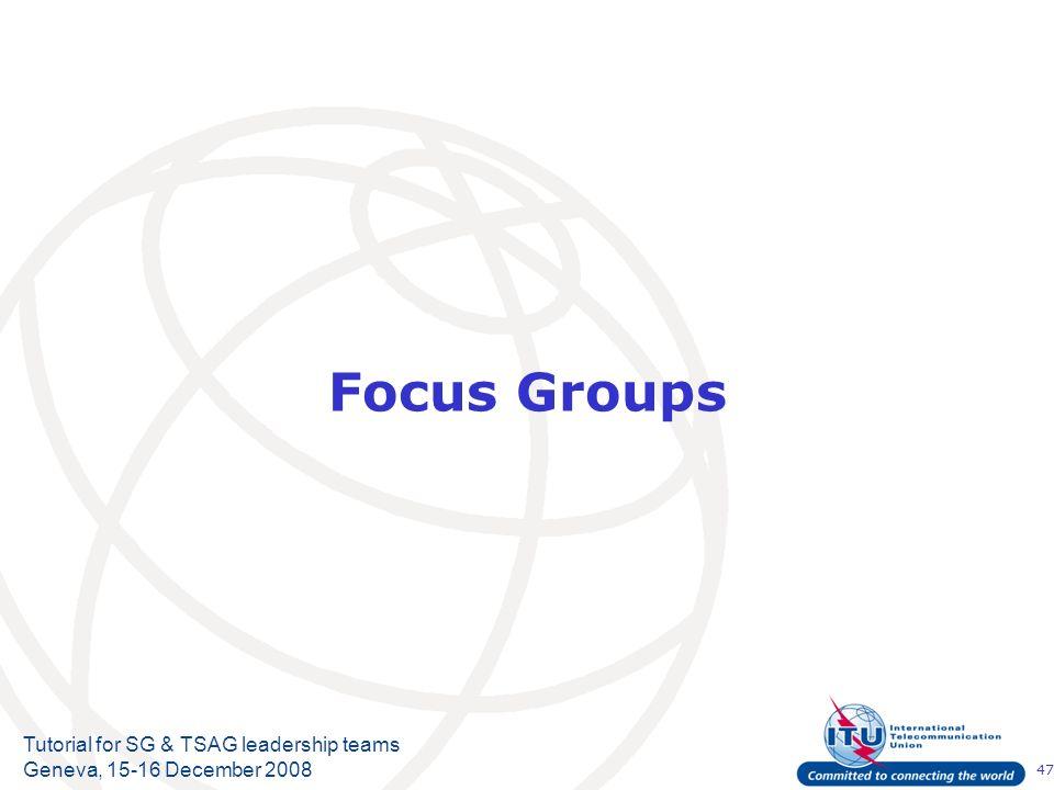 47 Tutorial for SG & TSAG leadership teams Geneva, 15-16 December 2008 Focus Groups