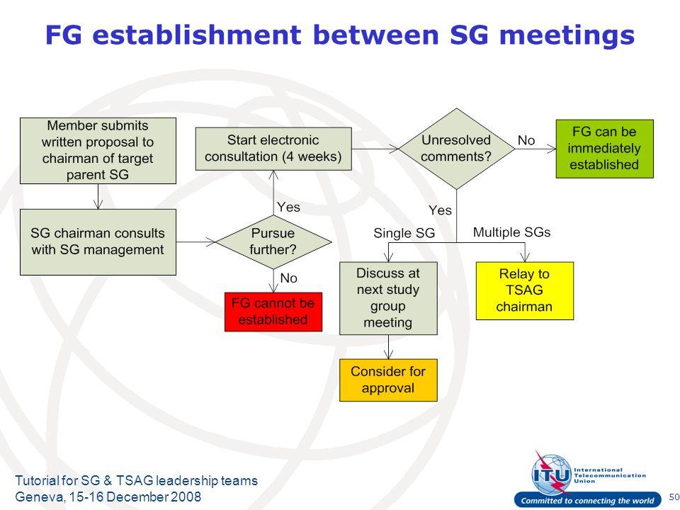 50 Tutorial for SG & TSAG leadership teams Geneva, 15-16 December 2008 FG establishment between SG meetings