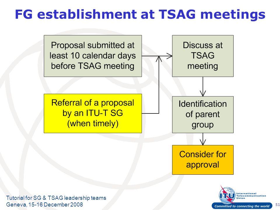 51 Tutorial for SG & TSAG leadership teams Geneva, 15-16 December 2008 FG establishment at TSAG meetings