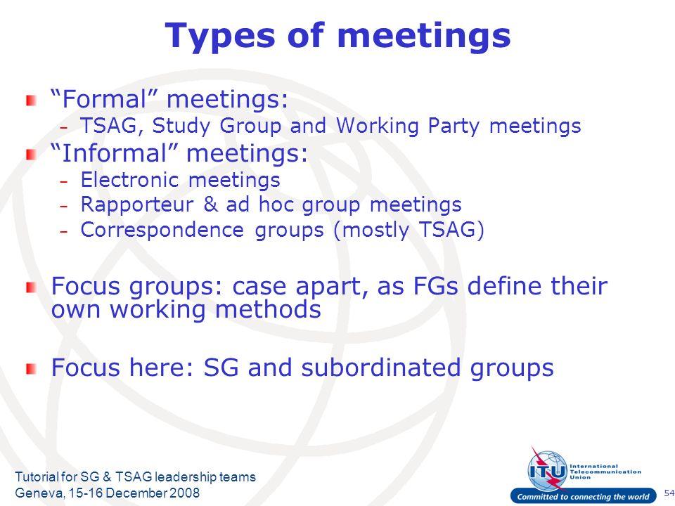 54 Tutorial for SG & TSAG leadership teams Geneva, 15-16 December 2008 Types of meetings Formal meetings: – TSAG, Study Group and Working Party meetin