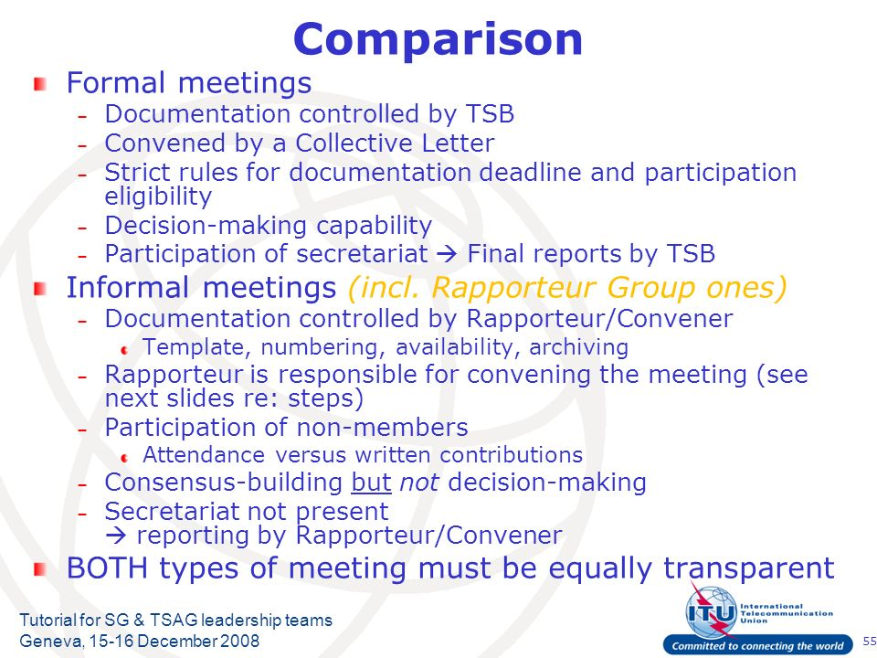 55 Tutorial for SG & TSAG leadership teams Geneva, 15-16 December 2008 Comparison Formal meetings – Documentation controlled by TSB – Convened by a Collective Letter – Strict rules for documentation deadline and participation eligibility – Decision-making capability – Participation of secretariat Final reports by TSB Informal meetings (incl.