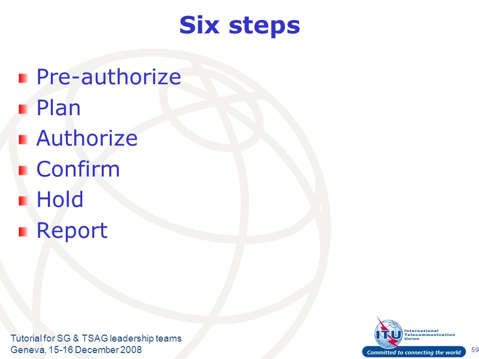59 Tutorial for SG & TSAG leadership teams Geneva, 15-16 December 2008 Six steps Pre-authorize Plan Authorize Confirm Hold Report