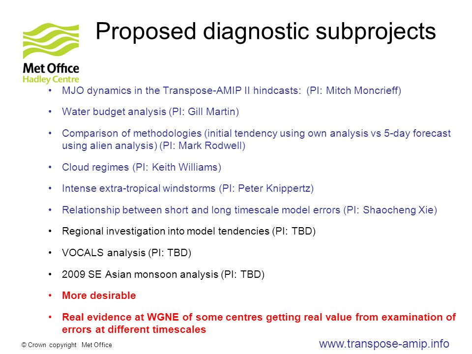 www.transpose-amip.info © Crown copyright Met Office Proposed diagnostic subprojects MJO dynamics in the Transpose-AMIP II hindcasts: (PI: Mitch Moncrieff) Water budget analysis (PI: Gill Martin) Comparison of methodologies (initial tendency using own analysis vs 5-day forecast using alien analysis) (PI: Mark Rodwell) Cloud regimes (PI: Keith Williams) Intense extra-tropical windstorms (PI: Peter Knippertz) Relationship between short and long timescale model errors (PI: Shaocheng Xie) Regional investigation into model tendencies (PI: TBD) VOCALS analysis (PI: TBD) 2009 SE Asian monsoon analysis (PI: TBD) More desirable Real evidence at WGNE of some centres getting real value from examination of errors at different timescales
